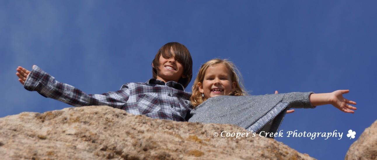Brooks kids on rock